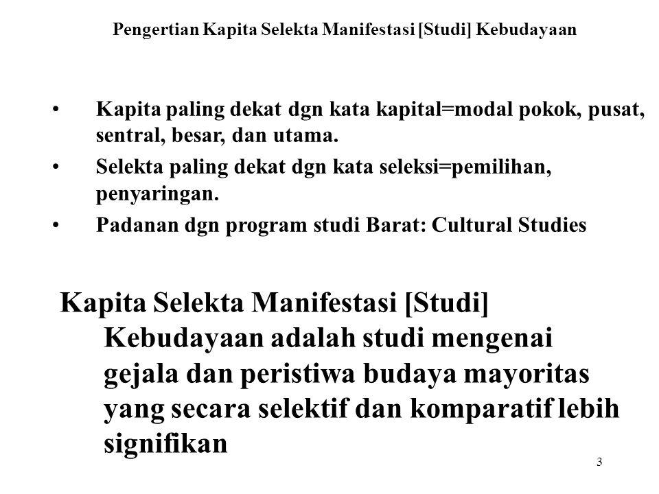 Pengertian Kapita Selekta Manifestasi [Studi] Kebudayaan